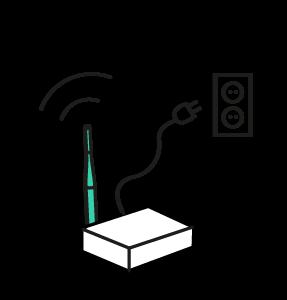 Een icoon van een Silent disco zender op stroom
